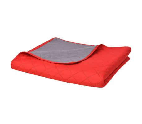 vidaXL Dvipusė dygsniuota lovatiesė, raudona ir pilka, 170x210 cm[1/5]