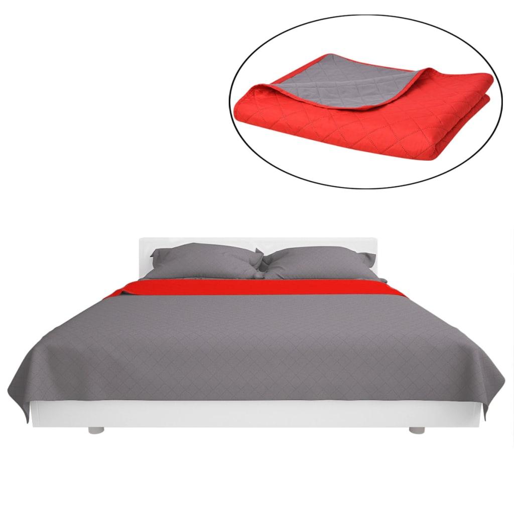 vidaXL Oboustranný prošívaný přehoz na postel červeno-šedý 170x210 cm