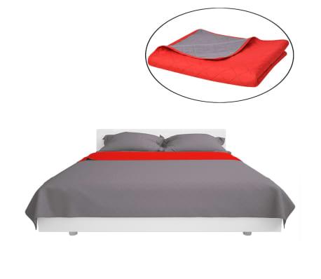 vidaXL Dvipusė dygsniuota lovatiesė, raudona ir pilka, 170x210 cm[2/5]