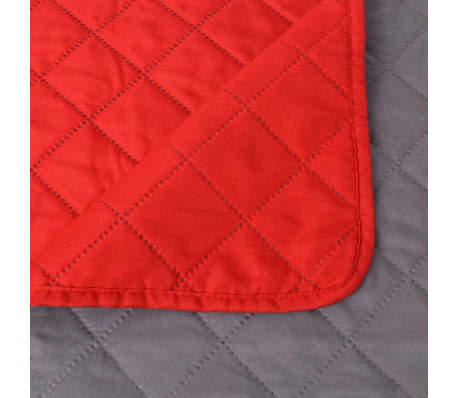 vidaXL Dvipusė dygsniuota lovatiesė, raudona ir pilka, 170x210 cm[5/5]