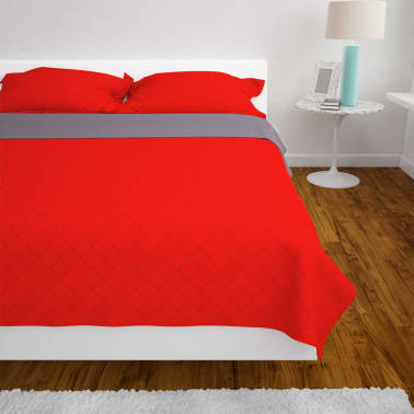 vidaXL Dvipusė dygsniuota lovatiesė, raudona ir pilka, 170x210 cm[4/5]