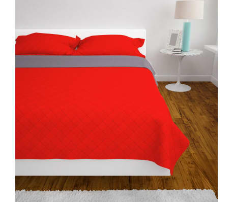 vidaXL 220x240 cm kétoldalas steppelt ágytakaró vörös és szürke 4 5  81de52412d