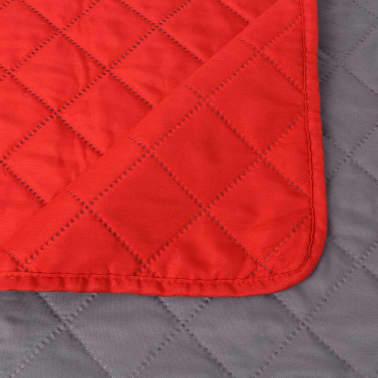 vidaXL Dubbelsidigt vadderat överkast röd och grå 220x240 cm[5/5]