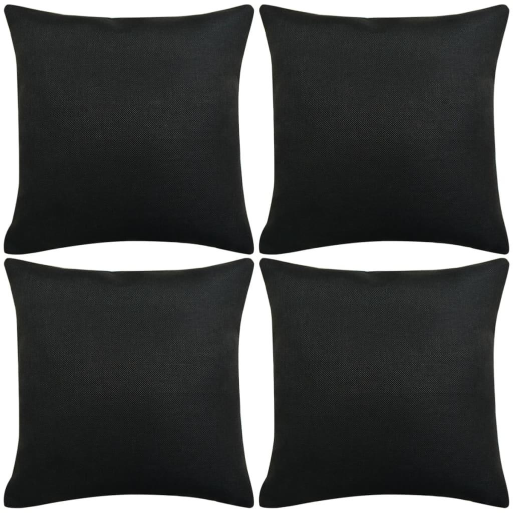 vidaXL Huse de pernă cu aspect de pânză, 40 x 40 cm, negru, 4 buc. poza vidaxl.ro