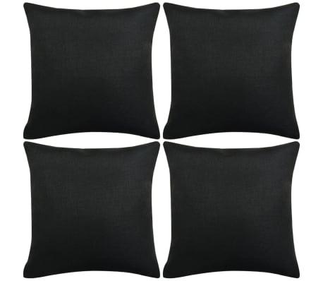 vidaXL Jastučnica 4 kom. Linen-look Crne 40x40 cm[1/3]