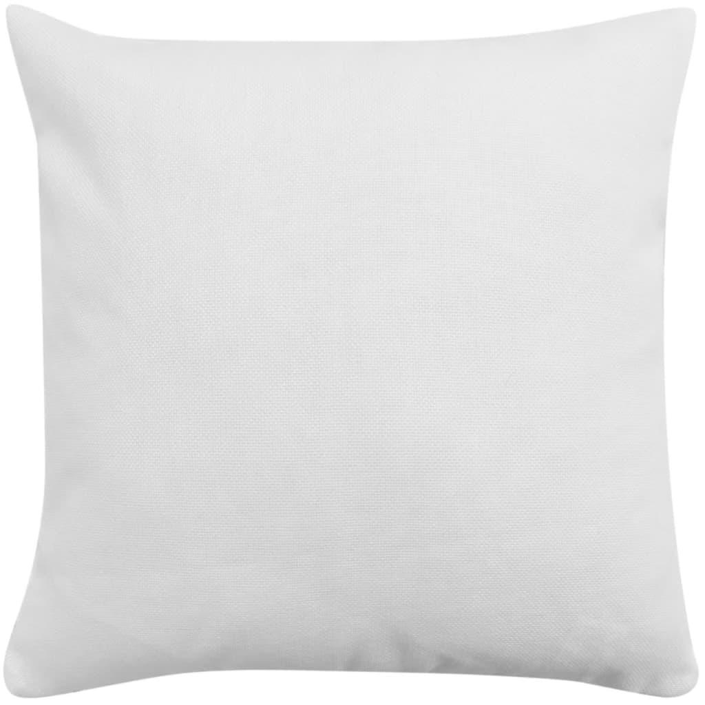 vidaXL Povlaky na polštářek 4 ks, se vzhledem lnu bílé 50x50 cm