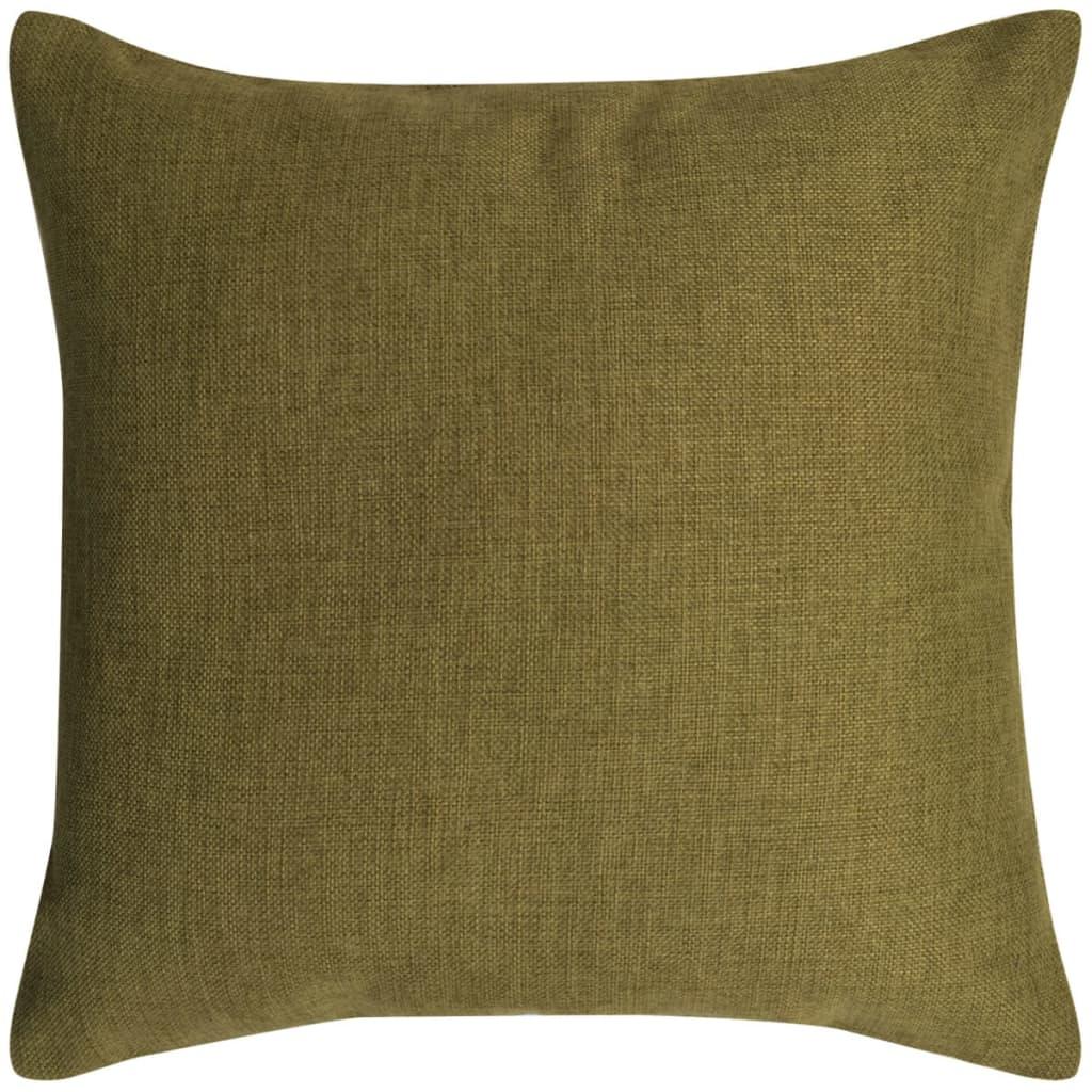 vidaXL Povlaky na polštářek 4 ks, se vzhledem lnu zelené 40x40 cm