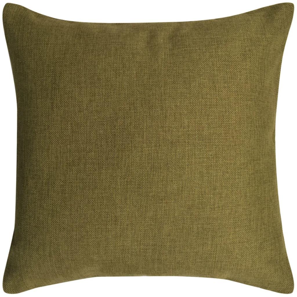 vidaXL Povlaky na polštářek 4 ks, se vzhledem lnu zelené 80x80 cm