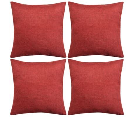 vidaXL Cushion Covers 4 pcs Linen-look Burgundy 50x50 cm