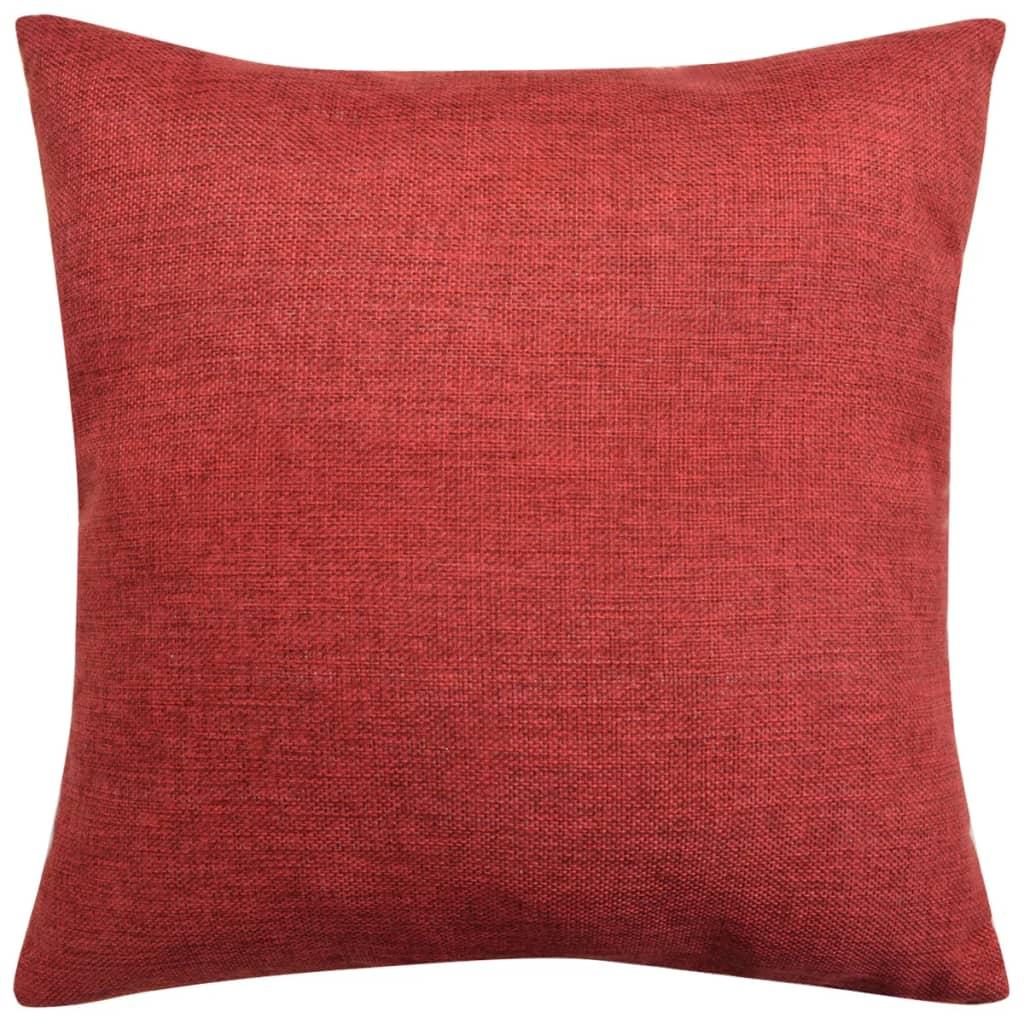 vidaXL Povlaky na polštářek 4 ks, se vzhledem lnu vínové 80x80 cm