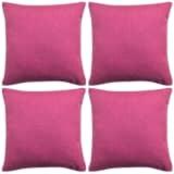 vidaXL Pagalvėlių užvalkalai, 4 vnt., lino imitacija, rožiniai, 40 x 40 cm