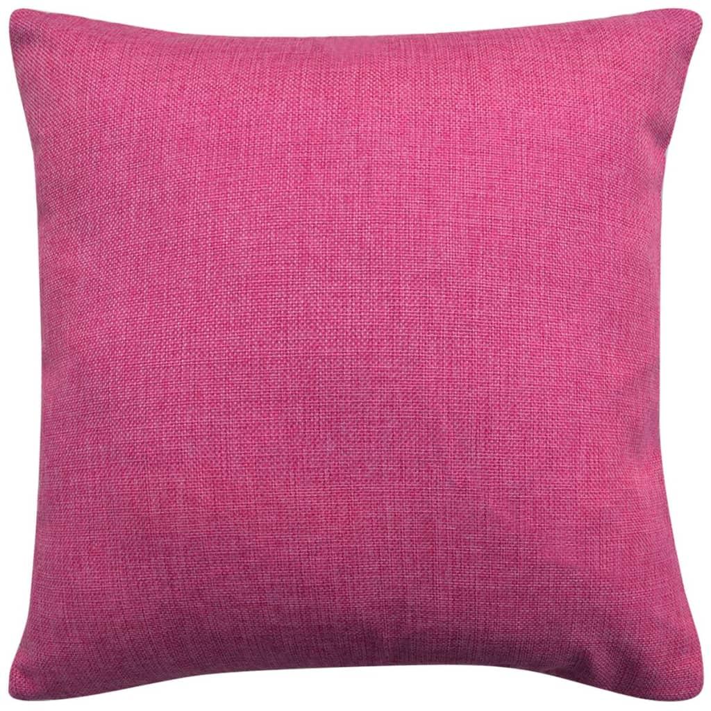 vidaXL Povlaky na polštářek 4 ks, se vzhledem lnu růžové 40x40 cm