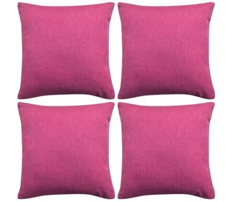 vidaXL Cushion Covers 4 pcs Linen-look Pink 50x50 cm