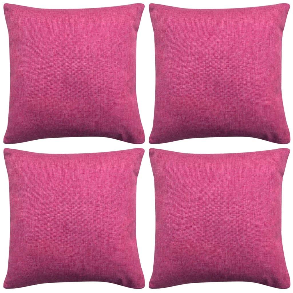 vidaXL Καλύμματα Μαξιλαριών με Λινό Σχέδιο 4 τεμ. Ροζ 80 x 80 εκ.