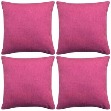 vidaXL Tyynynpäällinen Pellavatyylinen Pinkki 4kpl 80x80 cm[1/3]