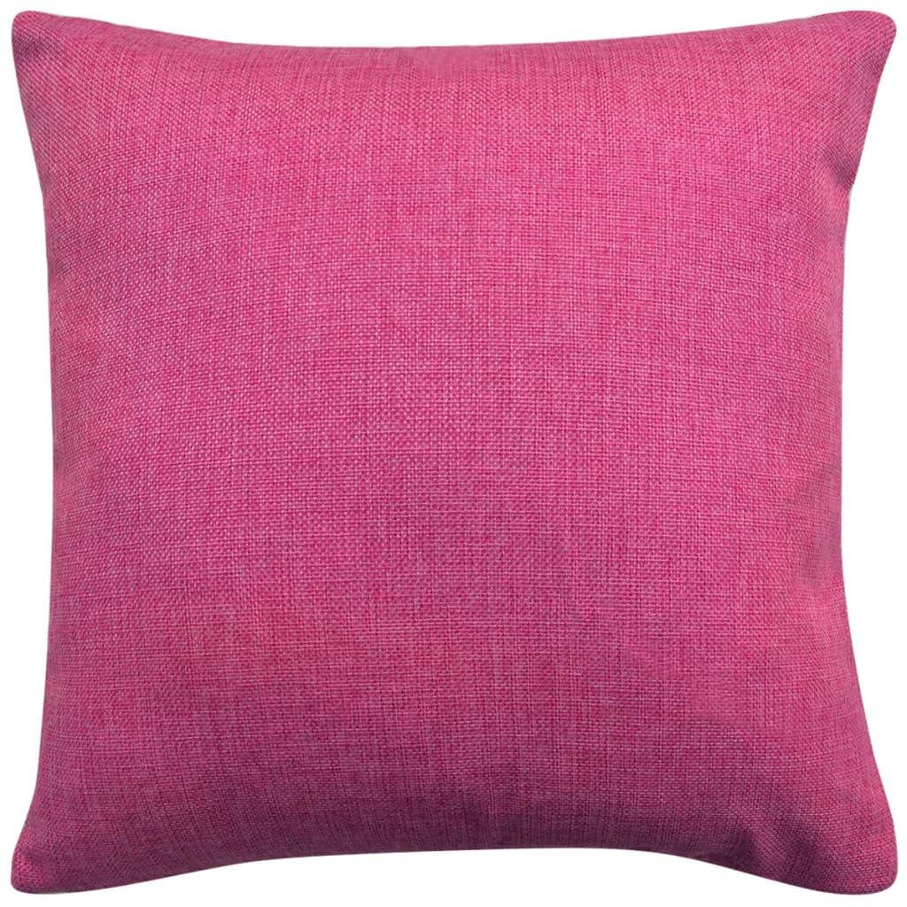vidaXL Povlaky na polštářek 4 ks, se vzhledem lnu růžová 80x80 cm