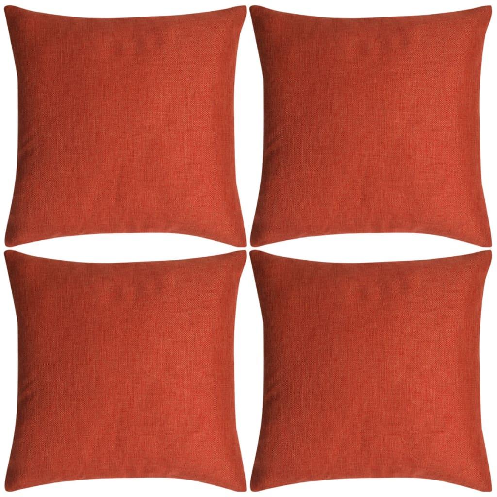 vidaXL Povlaky na polštářek 4 ks se vzhledem lnu cihlové 40x40 cm