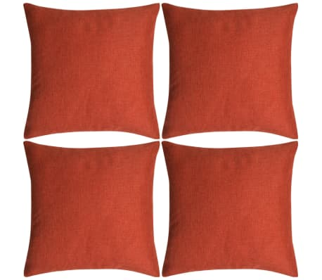 vidaXL Cushion Covers 4 pcs Linen-look Terracotta 40x40 cm