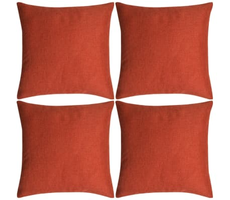 vidaXL Cushion Covers 4 pcs Linen-look Terracotta 50x50 cm