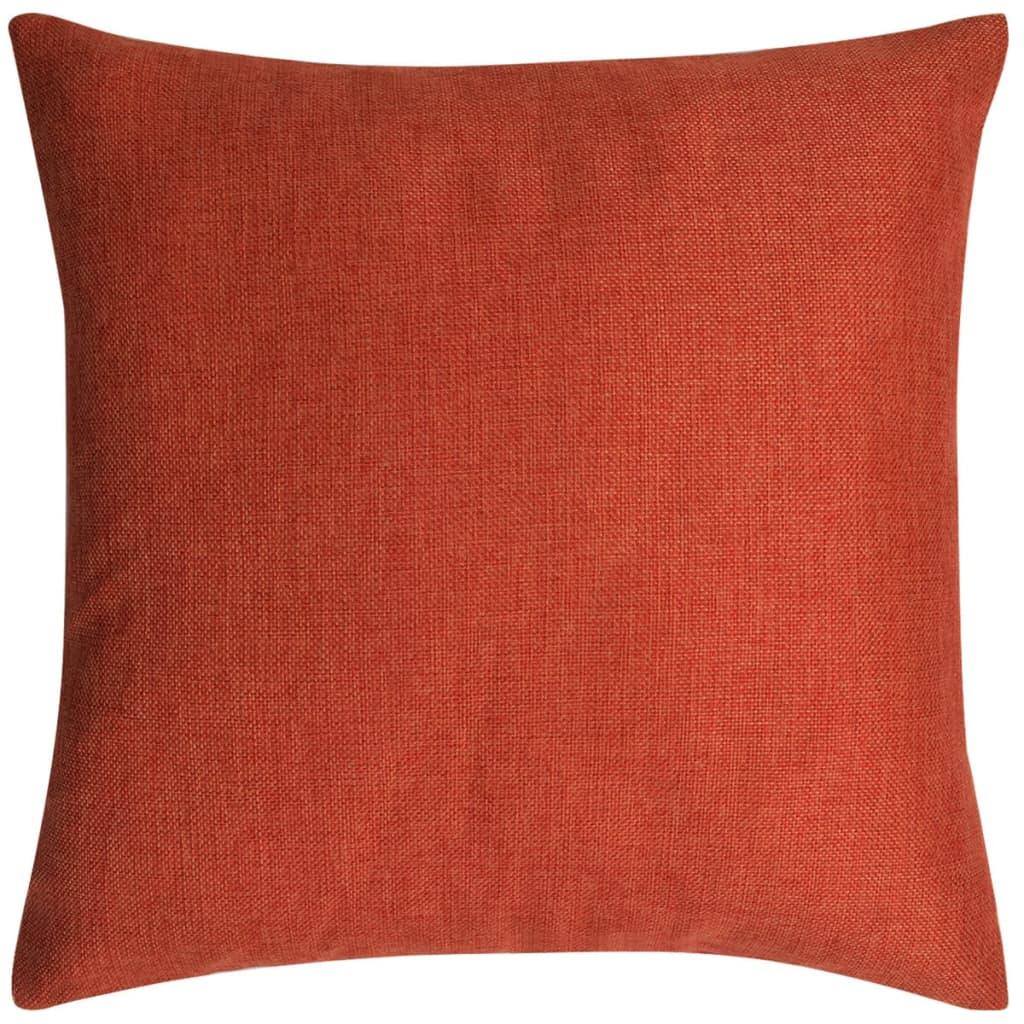 vidaXL Povlaky na polštářek 4 ks, se vzhledem lnu cihlový 50x50 cm