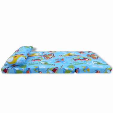 vidaxl matelas pliable pour enfants motif avec avions. Black Bedroom Furniture Sets. Home Design Ideas