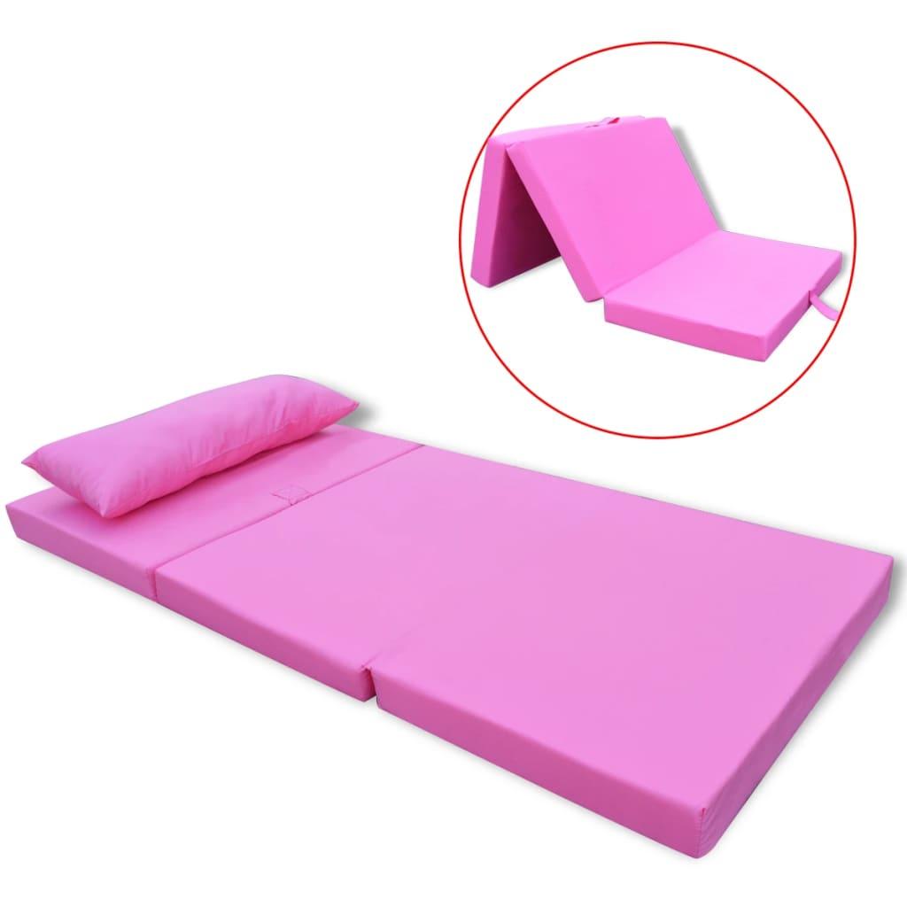 vidaXL Στρώμα Παιδικό Πτυσσόμενο Ροζ