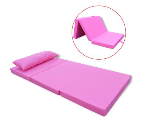 vidaXL Detský skladací matrac, ružový