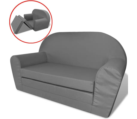 vidaXL vaikiška ištiesiama sofa, pilka[2/6]