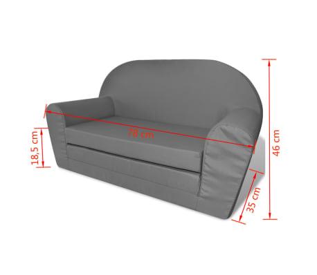 vidaXL vaikiška ištiesiama sofa, pilka[6/6]
