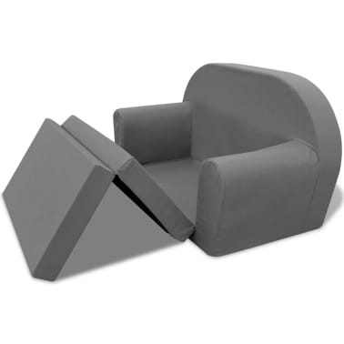 vidaXL vaikiška ištiesiama sofa, pilka[3/6]