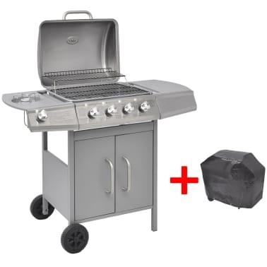 vidaXL Barbacoa grill de gas 4+1 quemadores plateada[1/7]