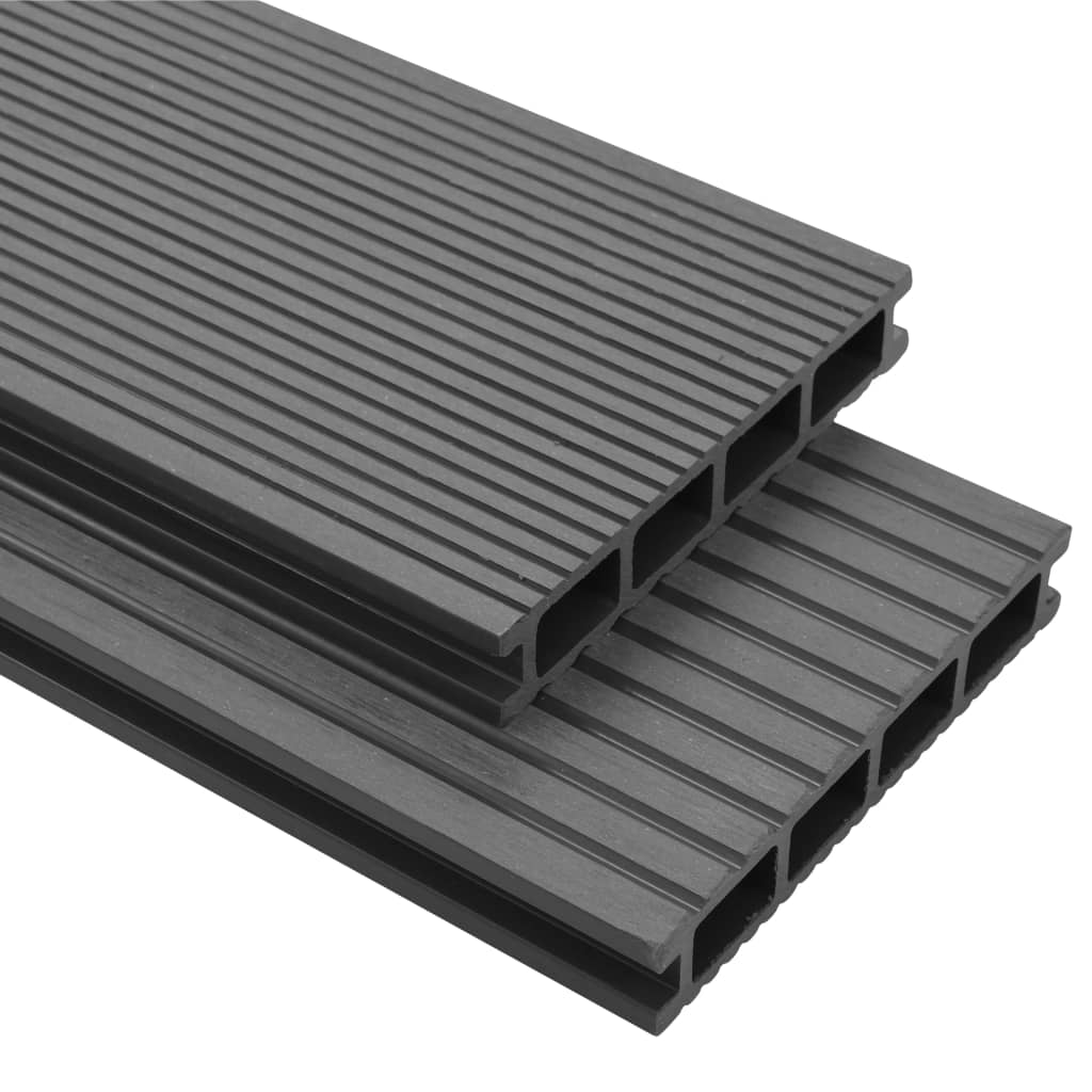 vidaXL WPC Decking Boards with Accessories 10 m² Grey