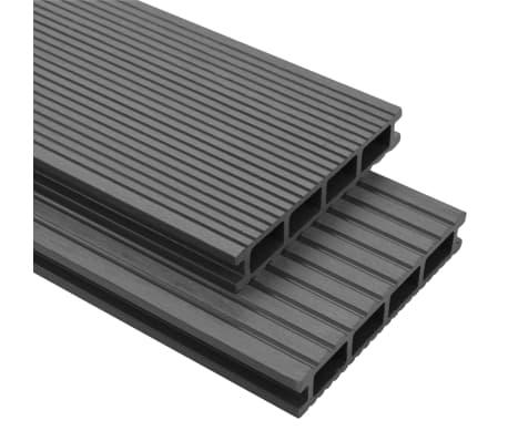 vidaXL WPC Terrassendielen mit Montagezubehör 16 m² 2,2 m Grau