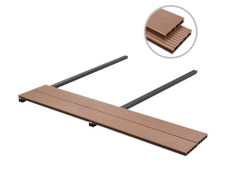 vidaXL WPC golvplattor med tillbehör 30 m² 2,2 m brun[2/9]