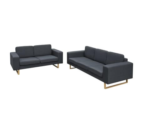 vidaXL 2-Seater and 3-Seater Sofa Set Dark Grey