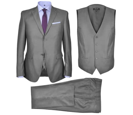 vidaxl dreiteiliger herren business anzug gr e 52 grau g nstig kaufen. Black Bedroom Furniture Sets. Home Design Ideas