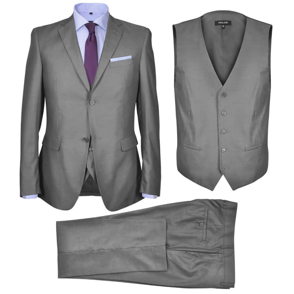 vidaXL Pánský třídílný business oblek šedý, vel. 54