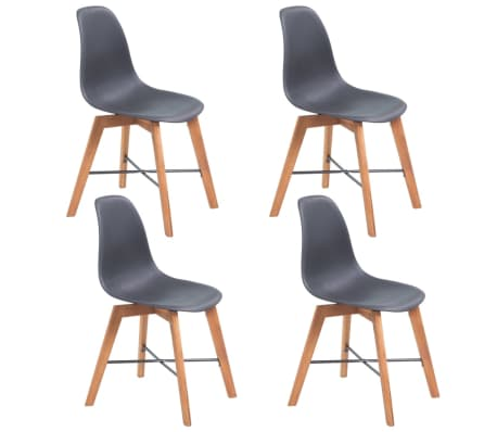 vidaXL Dining Chairs 4 pcs Black Solid Acacia Wood