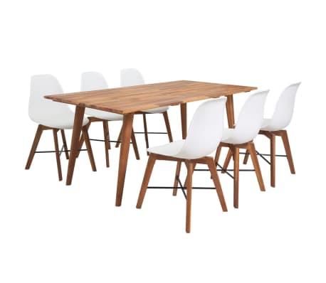 vidaXL Jeu de salle à manger 7 pièces en bois d'acacia massif blanc
