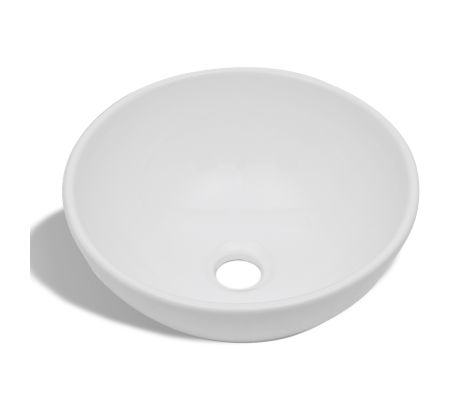 vidaXL Bathroom Sink Basin Ceramic White Round[2/6]