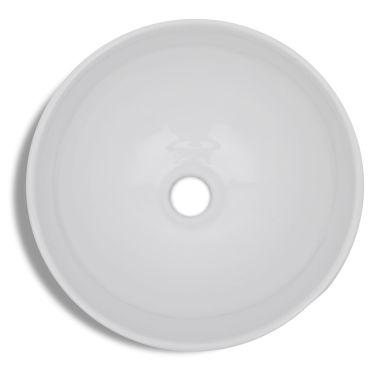 vidaXL Bathroom Sink Basin Ceramic White Round[5/6]