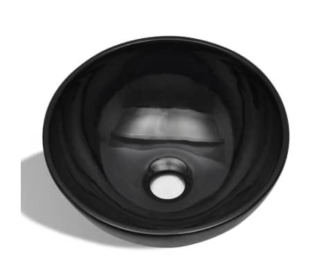 vidaXL Bathroom Sink Basin Ceramic Black Round[2/6]
