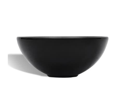 vidaXL Bathroom Sink Basin Ceramic Black Round[4/6]