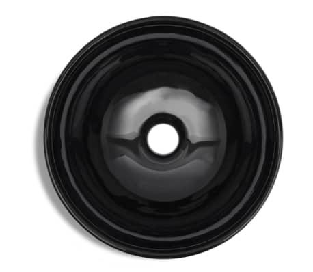 vidaXL Bathroom Sink Basin Ceramic Black Round[5/6]