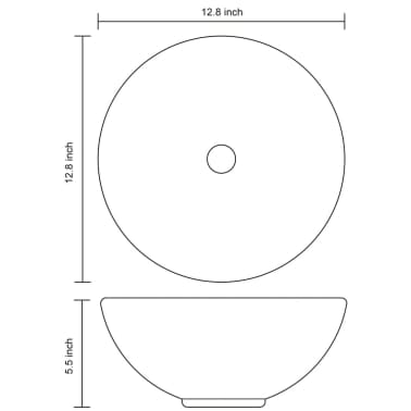 vidaXL Bathroom Sink Basin Ceramic Black Round[6/6]
