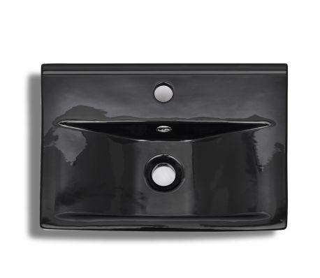vidaXL Bathroom Sink Basin Faucet/Overflow Hole Ceramic Black[5/6]