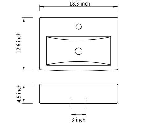 vidaXL Bathroom Sink Basin Faucet/Overflow Hole Ceramic Black[6/6]