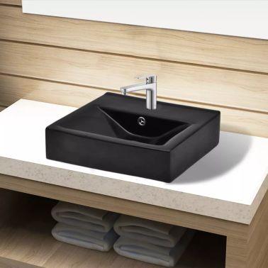 vidaXL Bathroom Sink Basin Faucet/Overflow Hole Ceramic Black[1/6]
