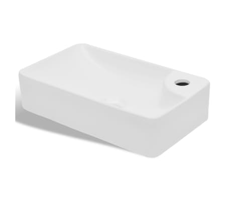 vidaXL Bathroom Sink Basin with Faucet Hole Ceramic White[2/5]