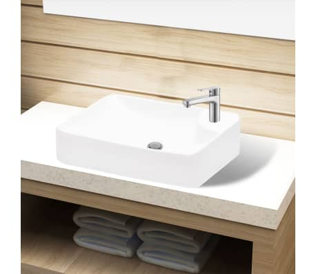 vidaXL Bathroom Sink Basin with Faucet Hole Ceramic White[1/5]